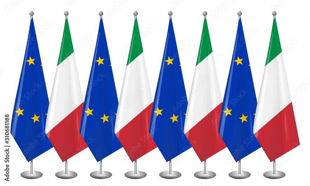 Fototapeta Flaga Grecji i Unii Europejskiej