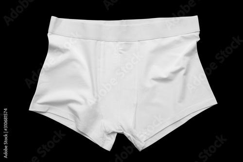 Obraz na plátně Blank white underpants mock-up on a black cutted background.