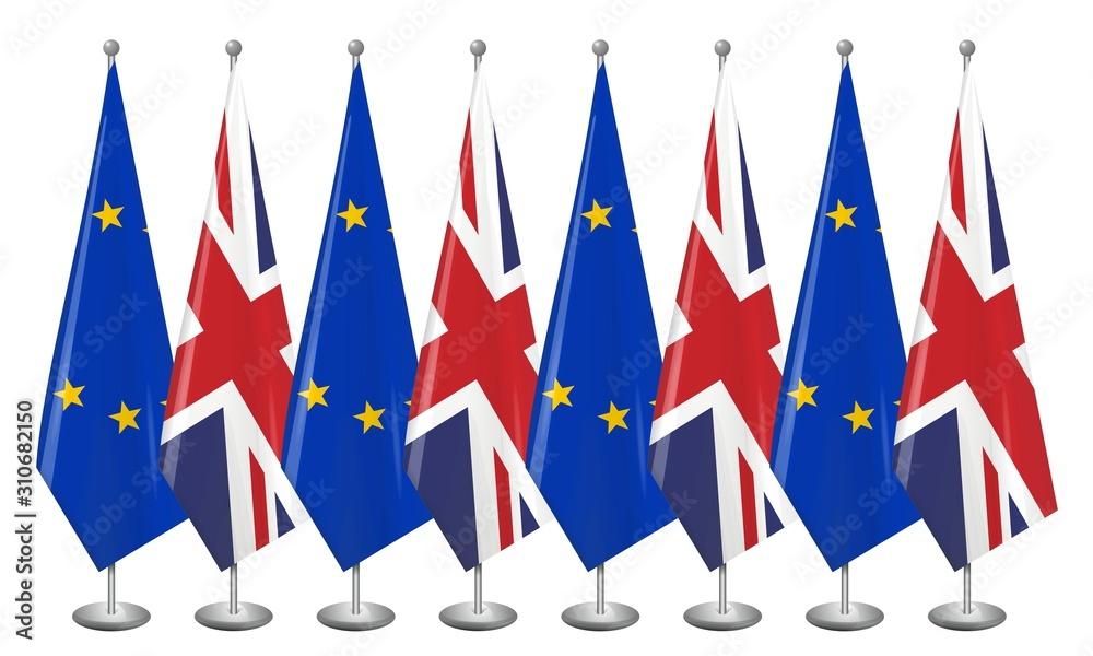 Fototapeta Flaga Wielkiej Brytanii i Unii Europejskiej