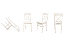 White Wooden Chairs Isolated O...
