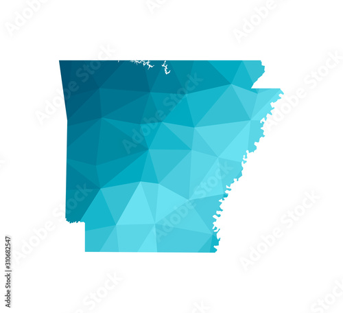 Photo Vector isolated illustration icon with simplified blue silhouette of Arkansas map - state of the USA