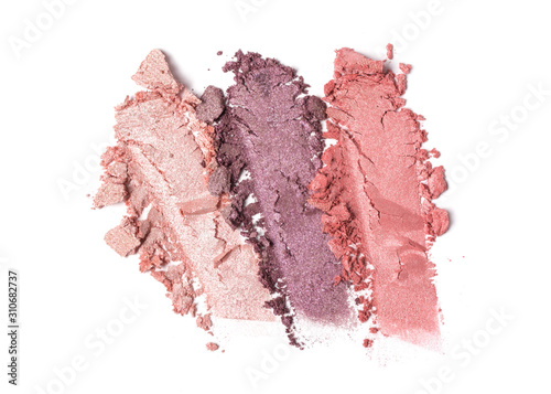 Canvas-taulu Smear of shiny pink and purple eyeshadow isolated on white