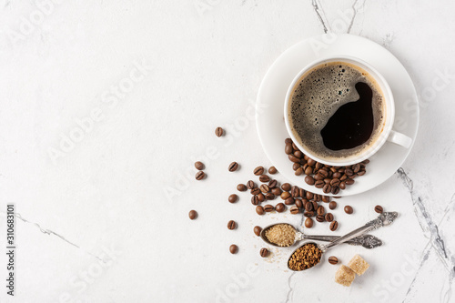Fototapeta Morning black coffee with sugar in white cup
