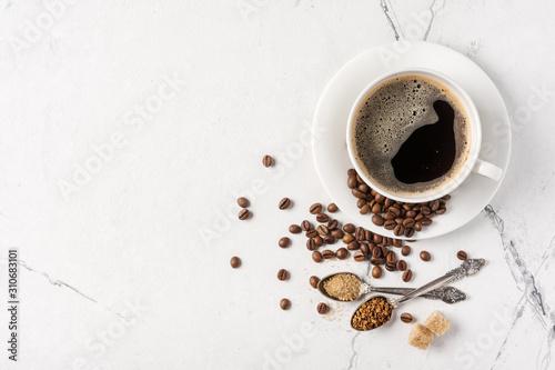 Fototapeta Morning black coffee with sugar in white cup obraz