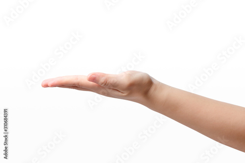 Fotografia  Close-up of beautiful woman's empty hand, palm up side view