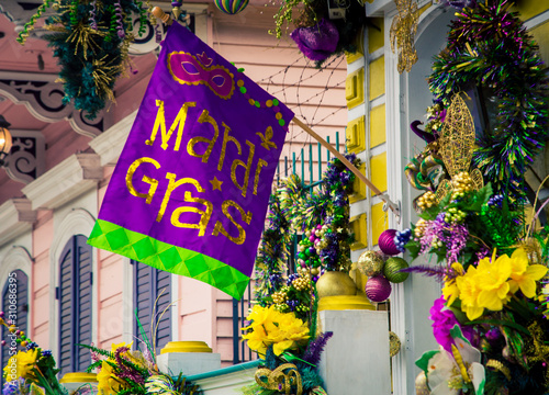 Mardi gras decorations in New Orleans Canvas Print