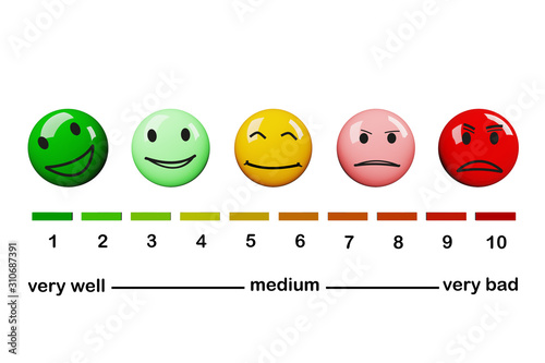 Diagram with smileys cuboid and numbers, 3D illustration Fototapet