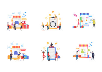 Internet shopping set. Shoppers carrying bags, using gadgets, analyzing survey. Flat vector illustrations. Business, online store concept for banner, website design or landing web page