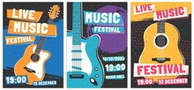 Music Festival Posters. Live Acoustic Guitar Music Concert Poster, Rock Fest Flyer And Creative Brochure Template Vector Set. Rock N Roll Concert Advertising Banner Concept. Entertainment Event Promo