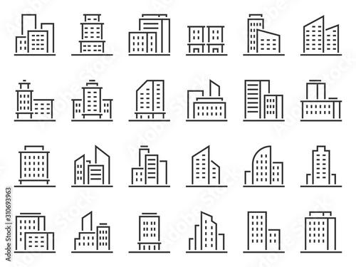 Line building icons Canvas Print