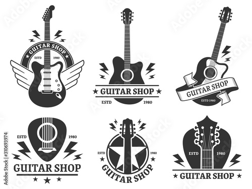 Fototapeta Guitar shop badges