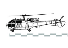 Aerospatiale Alouette 3, SA 316, 319. Outline Vector Drawing
