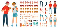Teenager Character Constructor. Teenage Boy, Young Girl Character Creation Bundle And Teenagers Couple Cartoon Vector Illustration Set. Avatar Creation Kit With Faces, Body Parts And Accessories