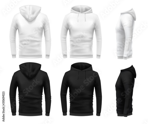 Fototapeta Realistic hoodie mockup. Black sweatshirt, white urban wearing hoodie and realistic clothes template 3D sweatshirts with hoodie vector set. Black and white hoody in different angle views obraz