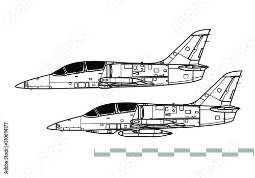 Obraz na plátně  Aero L-39 Albatros. Outline vector drawing