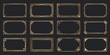 Golden art deco frames. Vintage decorative frame, gold ornaments borders and geometric lines ornament vector set. Elegant decorations with copyspace. Luxurious decorative design elements