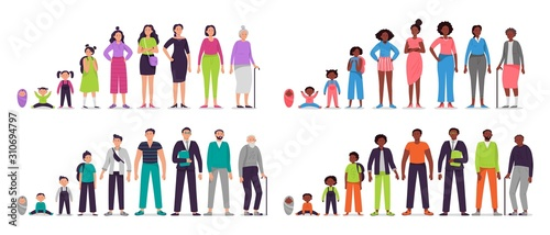 Different ages people characters Wallpaper Mural