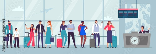 Queue to airport check-in Wallpaper Mural