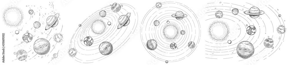 Sketch solar system. Hand drawn planets orbits, planetary and earth orbit vector illustration set. Astronomy themed coloring book drawings pack. Celestial bodies orbiting around sun in center