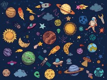 Color Space Doodle. Astrology Planets, Colorful Space And Hand Drawn Rocket Vector Illustration Set. Cartoon Style Cosmic Stickers Pack. Celestial Bodies, Astronaut, Spacecrafts, Stars And UFO