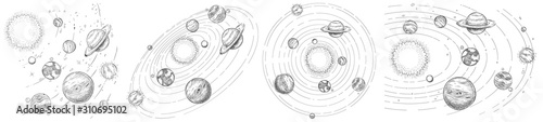 Fototapeta Sketch solar system. Hand drawn planets orbits, planetary and earth orbit vector illustration set. Astronomy themed coloring book drawings pack. Celestial bodies orbiting around sun in center obraz