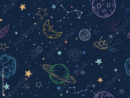 Photo Color seamless space pattern