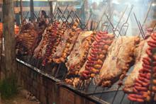 Large Barbecue With Gaucho Barbecue In Public Event In Rio Grande Do Sul.