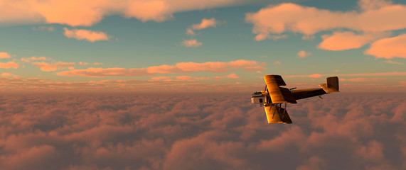 old airplane in the sky