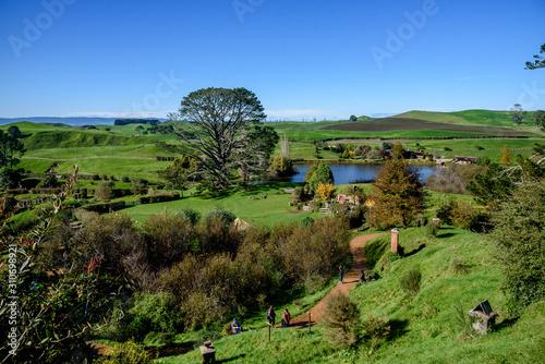 View of Hobbiton Movie Set in Matamata, New Zealand Canvas Print