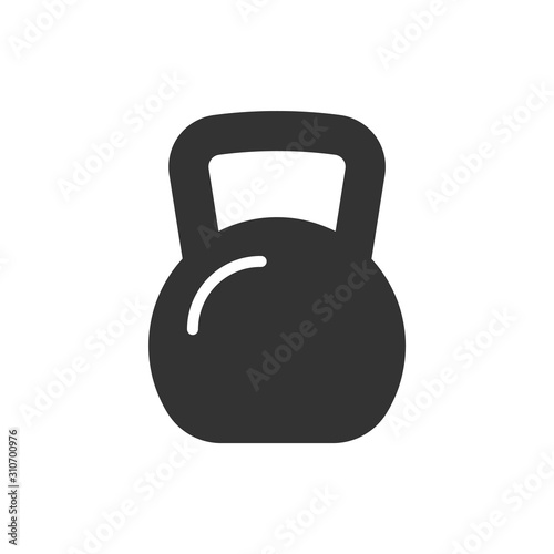 Obraz Kettle bell black icon on white background. Vector illustration - fototapety do salonu