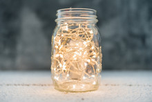 Jar With Lights On The Rustic ...