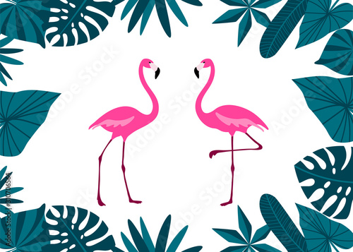 Pink Flamingo Couple with tropical leaves border. Cute exotic birds. Cartoon flat design.