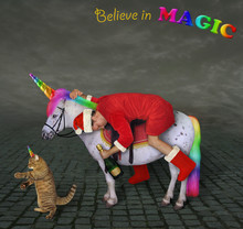 The Drunk Santa Claus With A Bottle Of Champagne Is Riding A Unicorn On The Cobblestone Pavement. The Cat Caticorn Is Walking Ahead. Believe In Magic.