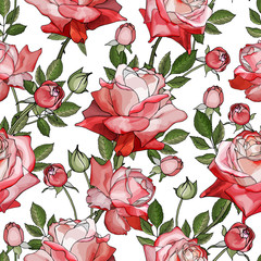 Fototapeta Kwiaty Floral seamless pattern with flowers pink and red rose and green leaves on white background.Hand drawn. For textile, wallpapers, print, greeting. Watercolor style. Vector stock illustration.