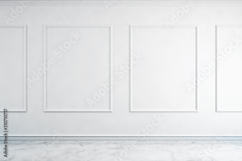 Fototapeta large luxury modern minimal bright interiors room mockup illustration 3D rendering obraz