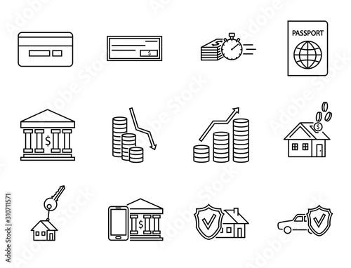 Fotografía  Bank, mobile bank, finance, insurance, quick loans, payment line icon set