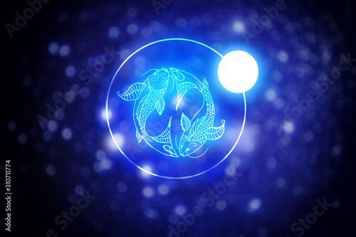 Vászonkép Astrology sign Pisces against starry sky