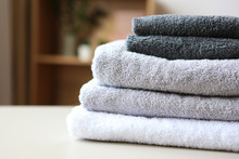 A Stack Of Fresh Towels On The...