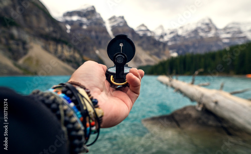 Photo Exploration Adventure Concept In Mountains With Compass