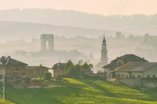 Panoramic view to the town of Asiago in Veneto region, Italy Canvas Print