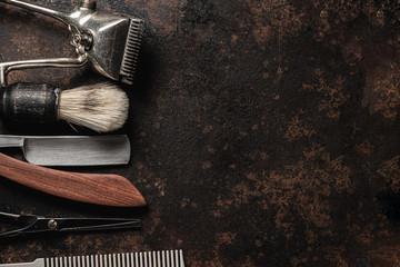 vintage barber tools dangerous razor hairdressing scissors old manual clipper comb shaving brush.