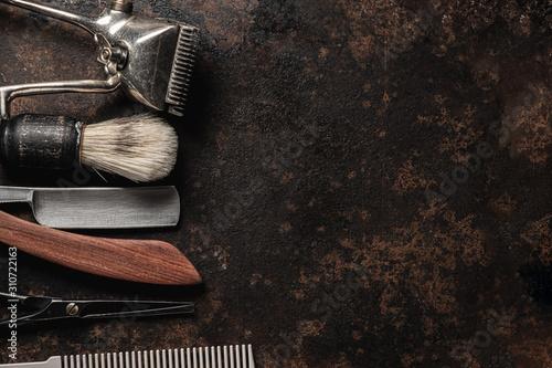 vintage barber tools dangerous razor hairdressing scissors old manual clipper comb shaving brush Canvas Print