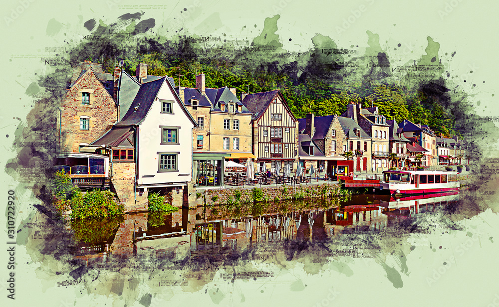 Painting styling - View of the historic town of Dinan with Rance river, Cotes-d'Armor department, Bretagne, northwestern France.
