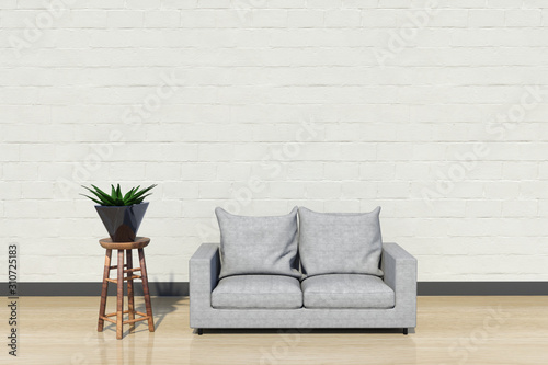 Fototapeta Urban jungle style livingroom with gray sofa, golden lamp and plants in pots on white wall background. 3d rendering obraz na płótnie