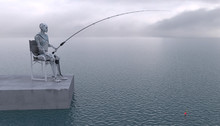 The Robot Is Fishing With A Fishing Rod At Sea. Future Concept With Robotics And Artificial Intelligence. 3D Rendering.
