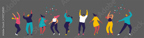 Fotografía  Dancing people flat vector set