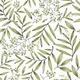 zielone liście gałęzi i kwiatów, odręczny rysunek ołówkiem, wzór - 310731350