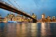 New York City Skyline at dusk, Brooklyn Bridge, USA
