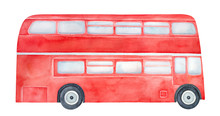 Bright Red Double-decker Bus W...