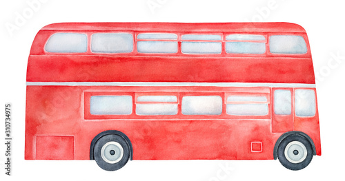 Fotografía Bright red double-decker bus with light blue windows and black wheels